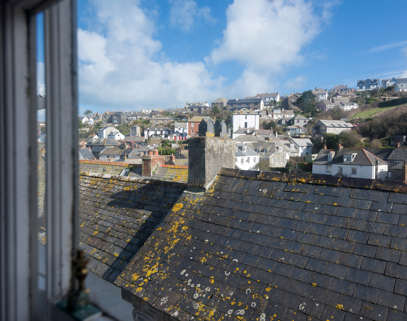 The view across the rooftops, from the master-bedroom window of Scuppers, self-catering holiday home in Port Isaac