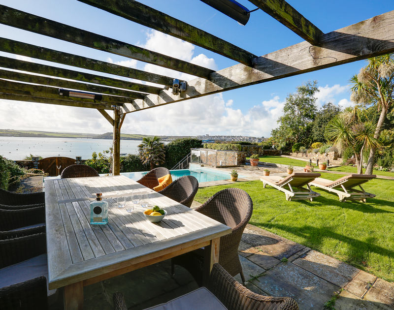 Enjoy sunny days entertaining in the garden and overlooking the estuary at Camel Point self catering holiday home in Rock, North Cornwall.