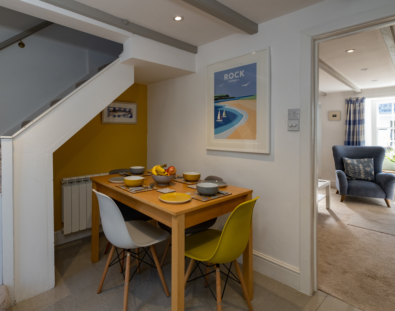 Dining-nook perfect for a family of four in the kitchen of Stokes Cottage