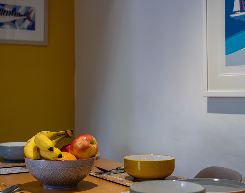 Fruit-bowl on the dining table of Stokes Cottage
