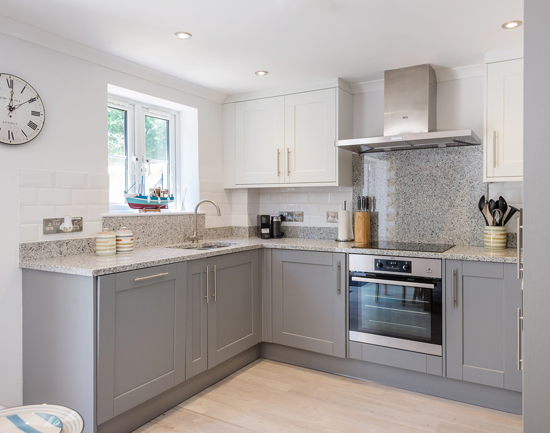 The contemporary kitchen of Stop Tide stocked with care with everything you may need for a relaxing stay in Port Gaverne