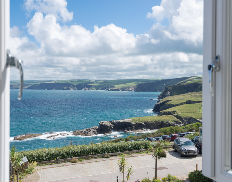 The view from the master-bedroom window at Ocean Breeze, Port Isaac