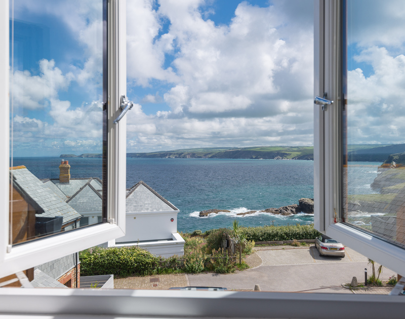The view across miles of coast, all the way to Tintagel on the far left from the top floor twin room at Ocean Breeze