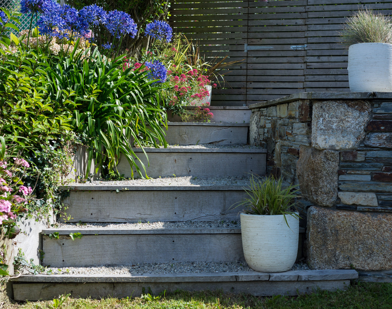 Steps up to the terrace in Albany's garden...