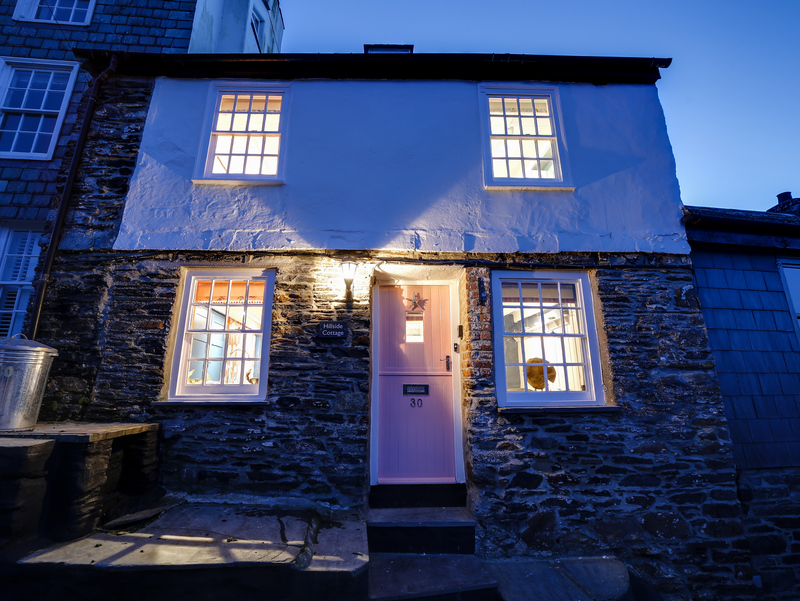 Hillside Cottage in Port Isaac at dusk
