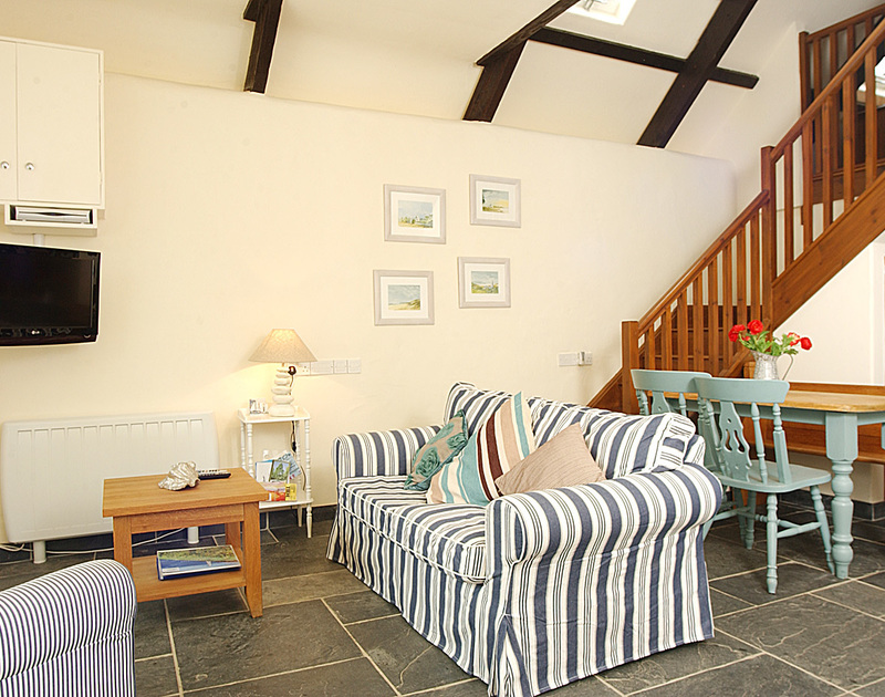 Comfy open-plan living area at Little Tides, a self-catering holiday house in Rock, Cornwall