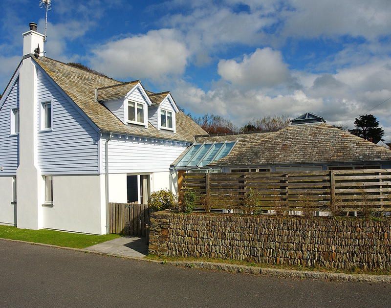 The front and side of Medrose 2, a dog friendly, self catering holiday house in Rock, Cornwall.