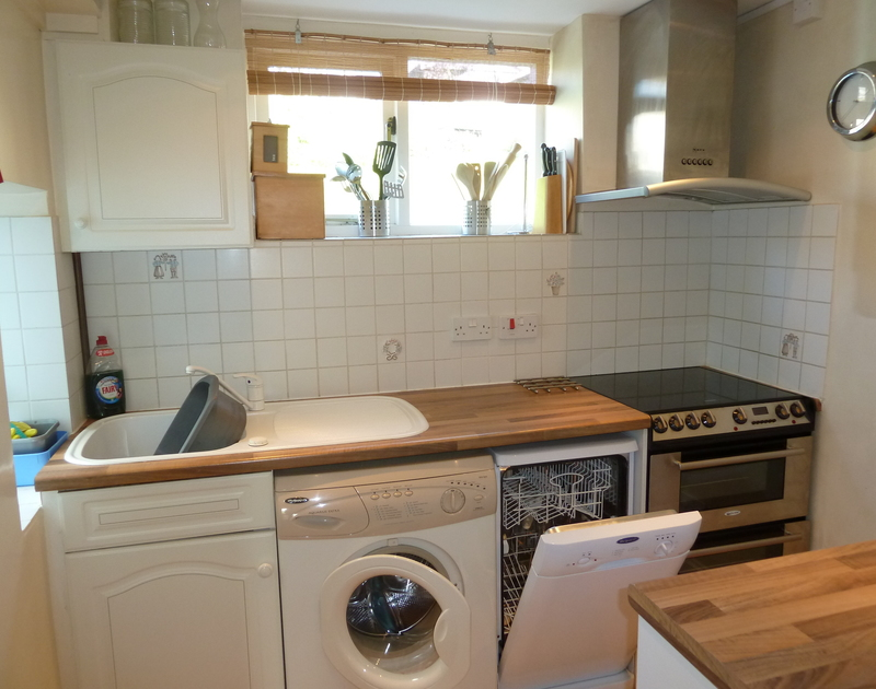 The kitchen in Tremanon, a self catering holiday cottage in Port Isaac, North Cornwall.