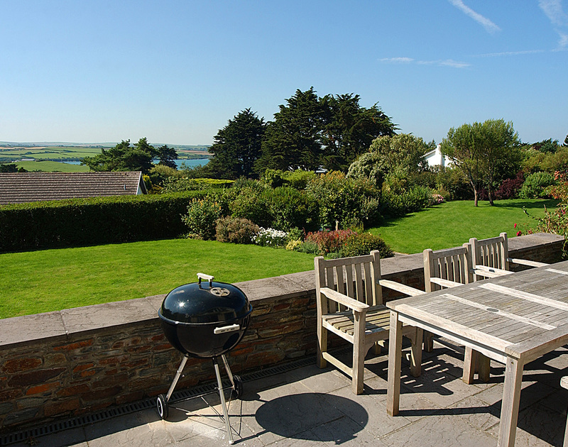 Lovely views from the elevated patio at Tamarisk, a self-catering holiday house in Rock, Cornwall