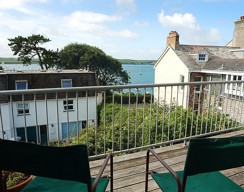 The Camel Estuary views from the sunny balcony at Slipway 12,  a self catering holiday cottage in Rock, North Cornwall.