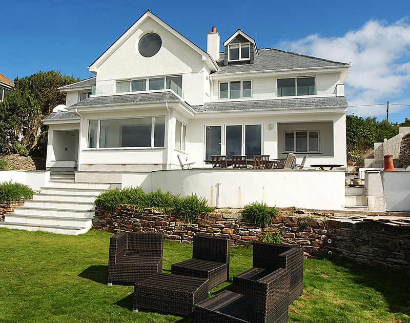 Detached, luxury family self catering holiday house Treverdan, set in well kept gardens on the cliff top at new Polzeath, North Cornwall.