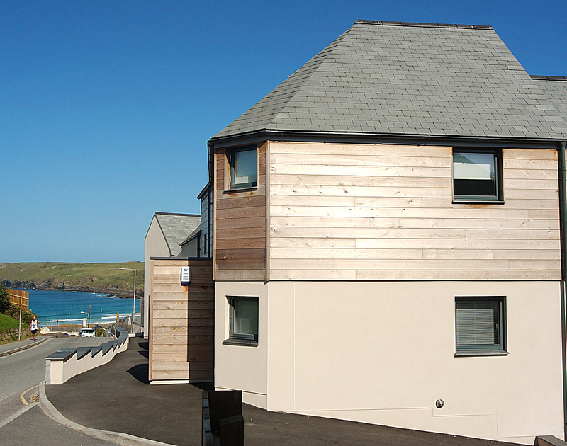 The contemporary exterior of The Beach Hut, a self catering holiday house a stone's throw from Polzeath beach, North Cornwall.
