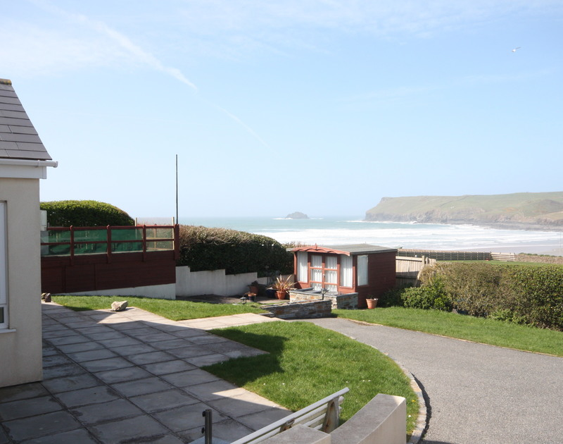 The superb sea views from the garden at Dozmary, a self catering holiday rental in Polzeath, Cornwall.