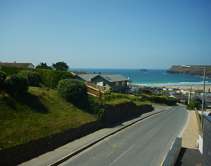 Sea views towards Pentire Point from Carnweather, a self catering holiday house to rent in Polzeath, North Cornwall.