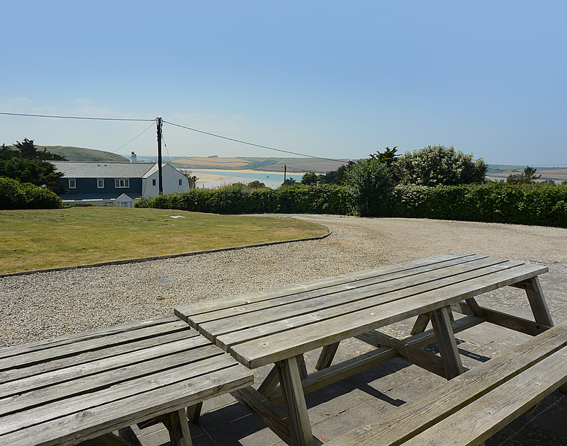The garden and driveway at Turnstones, a self catering holiday house to rent in Daymer Bay, North Cornwall.