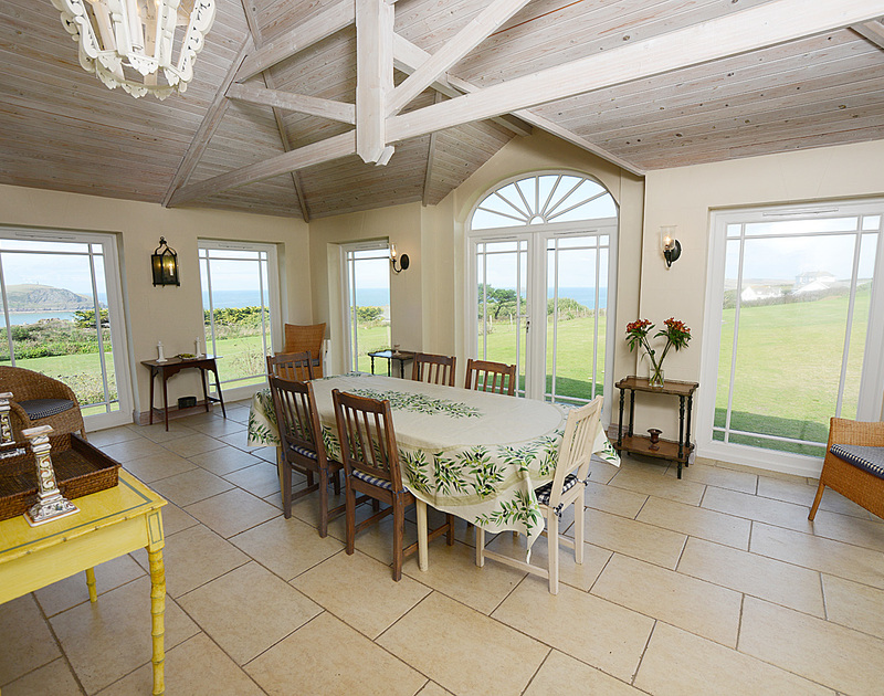 Panoramic seaviews from the numerous windows of the orangery of Tristan, self-catering holiday house near Daymer Bay, Cornwall