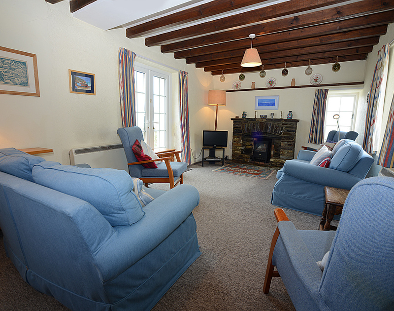 Spacious, attractively furnished sitting room at Ivy Cottage, a holiday house to rent in Polzeath, Cornwall