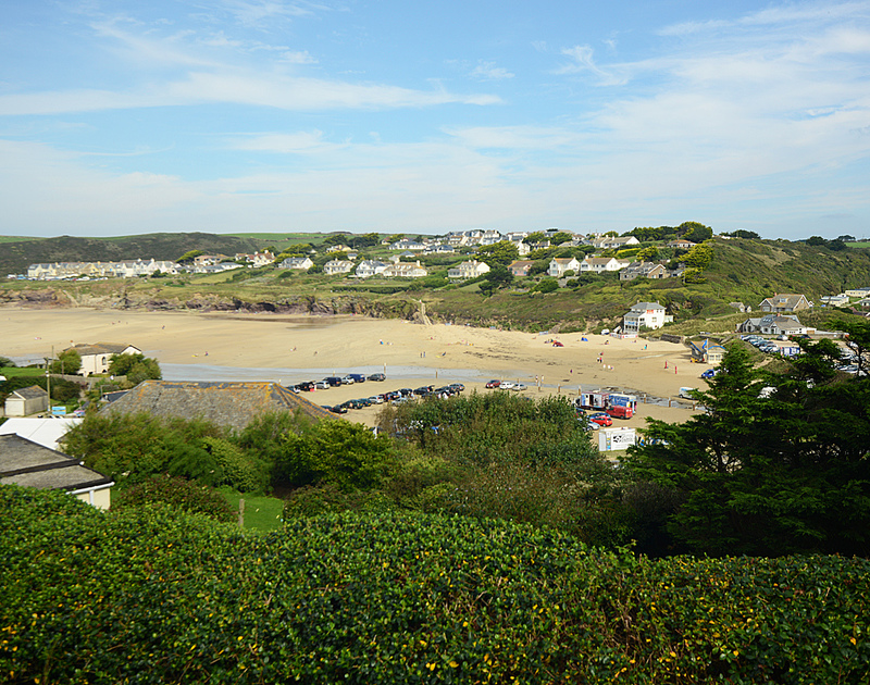Views of the beach and surrounding coastline from Ivy Cottage, a holiday house in Polzeath, North Cornwall
