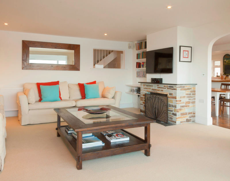 The stylish sitting room in Treverden, a self catering holiday house to rent by the sea in New Polzeath, Cornwall.