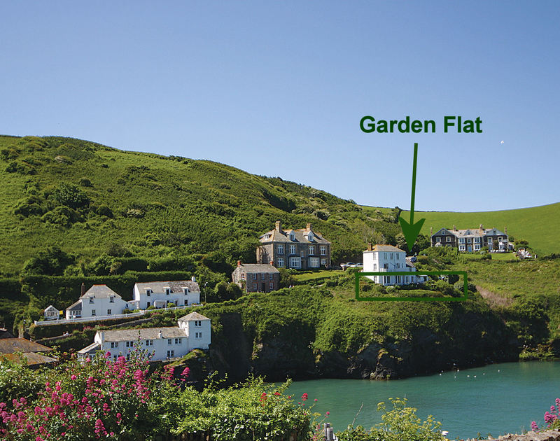 An image of the stunning location of Northcliffe Garden Flat, overlooking the harbour at Port Isaac, Cornwall