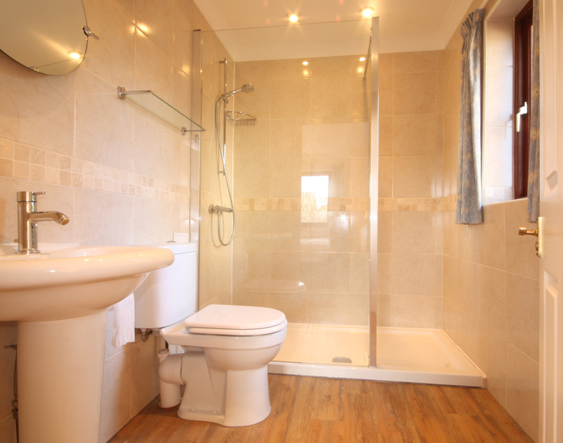 The en-suite, spacious shower room in Hatchlands, a self catering holiday house in Rock, North Cornwall.