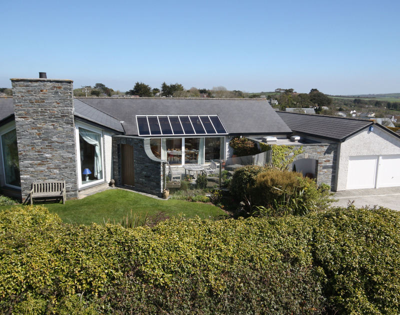 The exterior of Penny Liggan, peacefully situated on the edge of the St Enodoc Golf Course with footpaths to Rock and Daymer Bay.