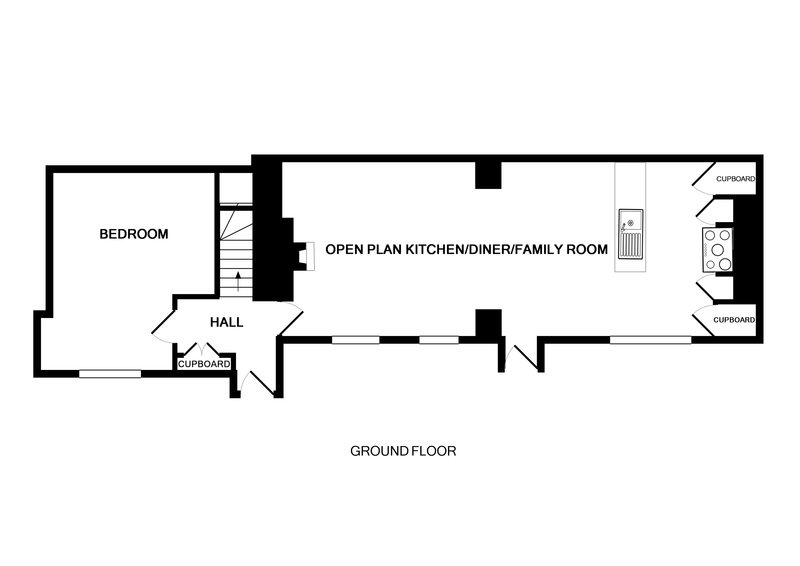 The ground floor plan of Rockies, a self-catering holiday house in Port Isaac, Cornwall