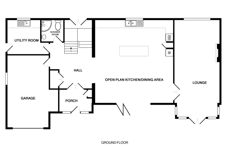 The ground floor plan for Cherrytrees, a self catering holiday house to rent in Rock, Cornwall.