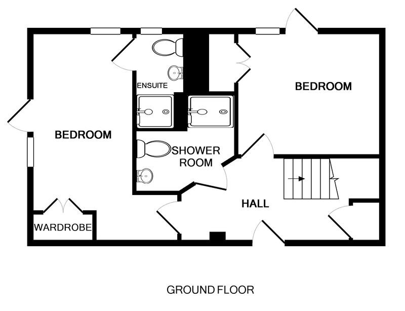 The ground floor plan showing bedrooms and bathrooms at Derowen, a holiday house in Port Isaac, Cornwall
