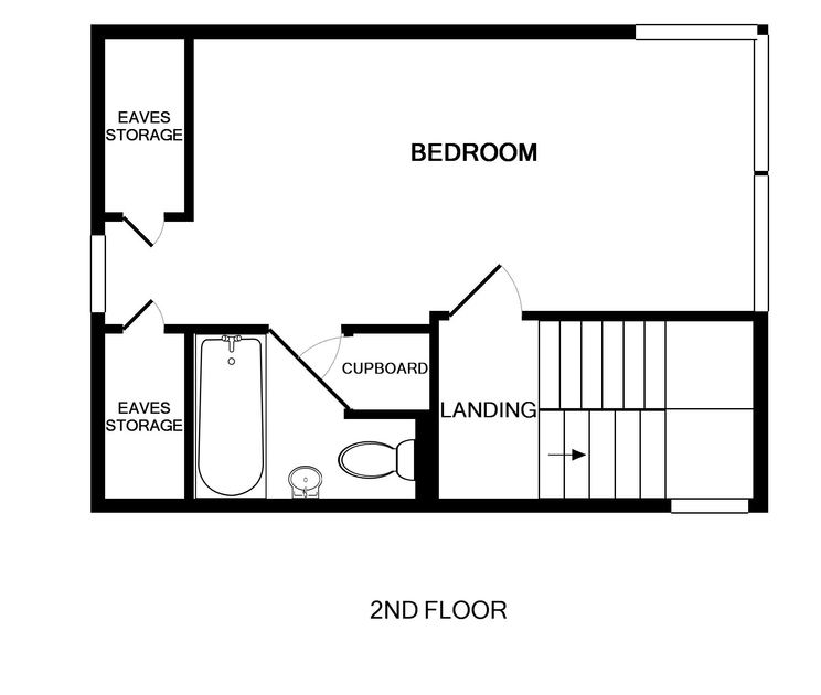 The second floor plan of the master bedroom and en-suite at Derowen, a holiday cottage in Port Isaac, Cornwall