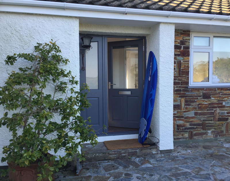 Front entrance into Corriana from the patio,a self catering, pet friendly holiday rental in Rock, Cornwall