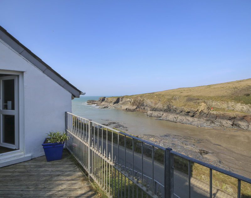 Seaviews from the enclosed decking at Rockies, a superb self-catering holiday house in Port Isaac, Cornwall