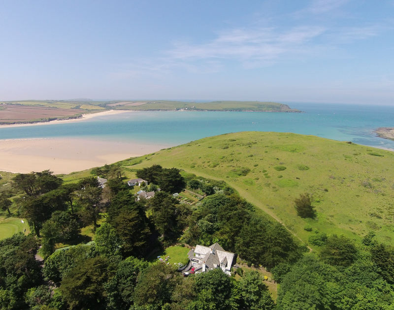 An aerial photograph of Old Brea Coach House, Daymer Bay, showing the proximity to the coast and the beautiful Camel Estuary.