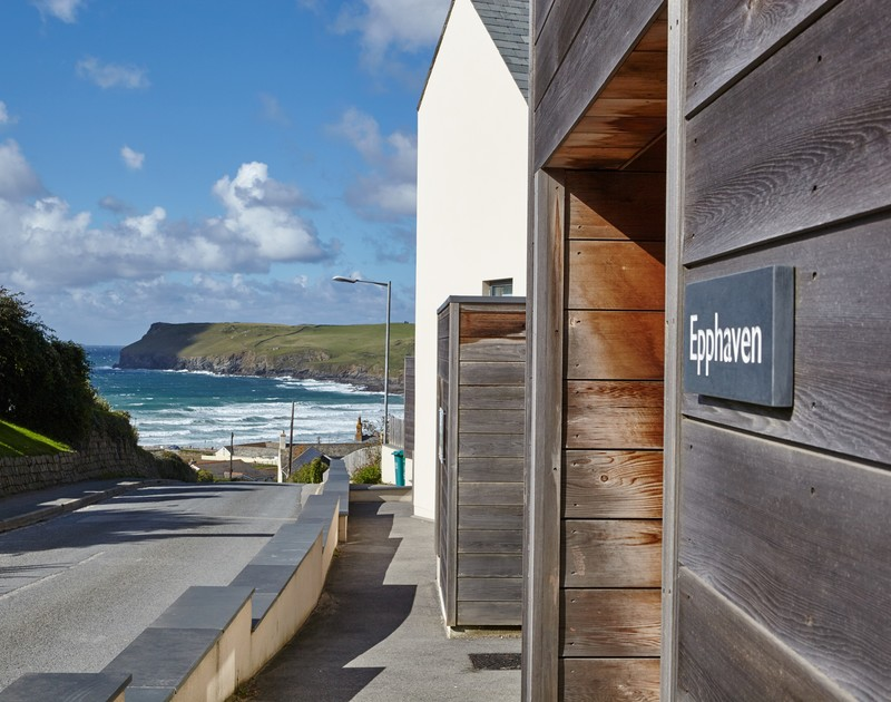 Glorious views of the sea and Pentire Point from the entrance door of Epphaven, a self-catering holiday house to rent at Polzeath.