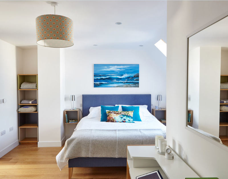 The master bedroom of Epphaven, a stunning self-catering holiday house at Polzeath, with superking size bed.