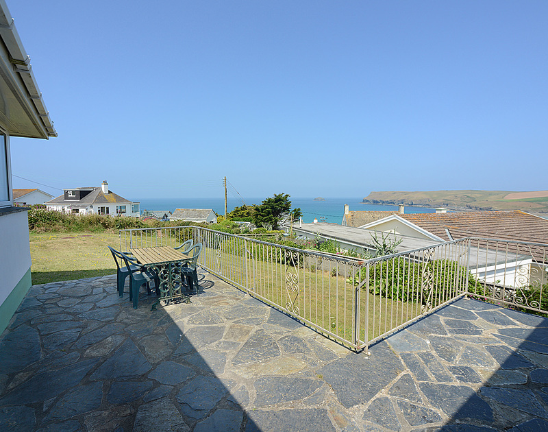 The slate paved terrace offering sea and coastal views from Tremelyn, Polzeath,Cornwall.