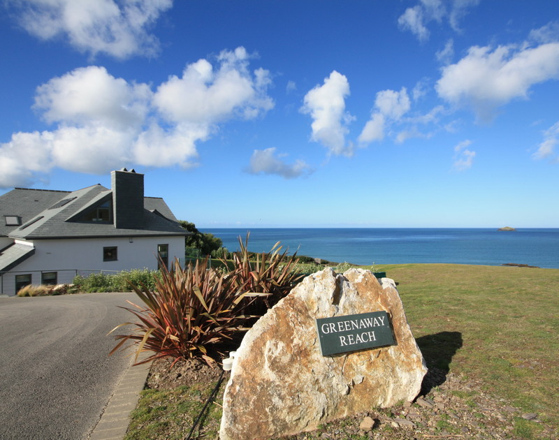 The sea view from Greenaway Reach, a luxury self catering holiday home to rent with huge grounds and gardens and a footpath to the Greenaway Beach, near Daymer Bay, North Cornwall