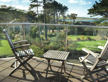 The view over the garden and the camel estuary from Bodare 8, holiday apartment at Daymer Bay, Cornwall