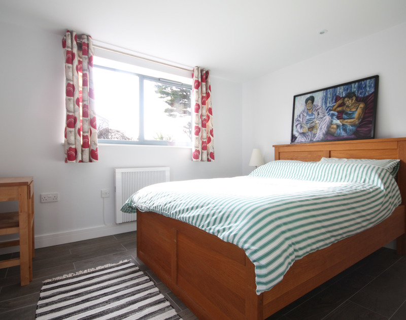 Double bedroom in the annexe of The Crest, a large holiday house in Polzeath, Cornwall