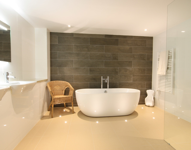Large, contemporary bathroom with freestanding bath at The Crest, a top-notch holiday house at Polzeath, Cornwall