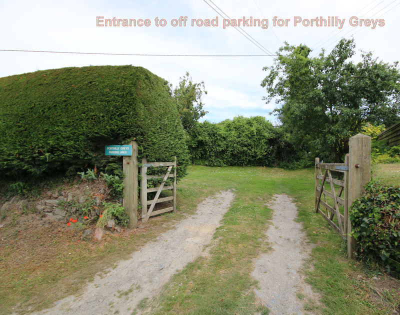 The gateway to the off road private parking area for guests at Porthilly Greys,a dog friendly, self catering holiday house to rent in Rock Cornwall.