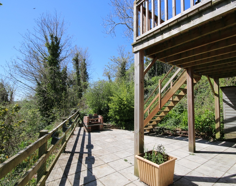 The sunny terrace at Talland House, a self catering holiday house to rent in Rock, North Cornwall.