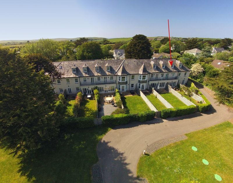 An aerial view of Lowenna Manor 9, self catering holiday accommodation in Rock, North Cornwall.
