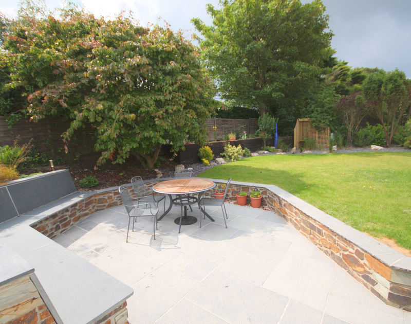 The smartly furnished terrace in Penolver Lodge's garden, a holiday rental in Rock, Cornwall