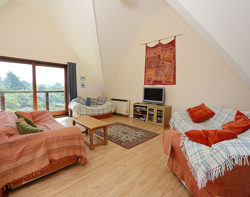 The spacious sitting room at Fieldview, a self-catering holiday house in Rock, Cornwall, with its vaulted ceiling.