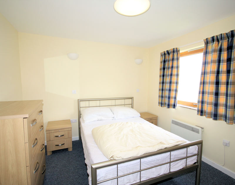 The double bedroom in Polzeath Court 4,a self catering holiday apartment to rent in New Polzeath, North Cornwall.