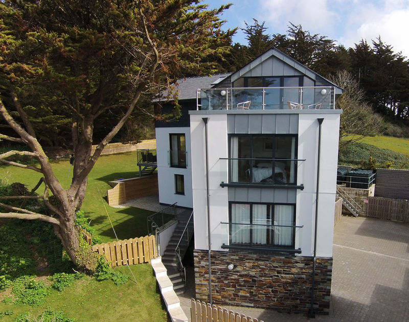 Exterior view of aptly named The Lighthouse, a self catering holiday house to rent in Rock, North Cornwall.