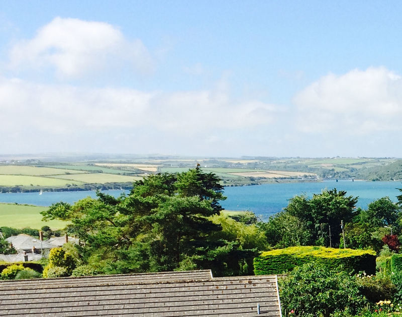 Extensive views of the estuary and countryside from the patio of Tamarisk, a holiday house in Rock, Cornwall