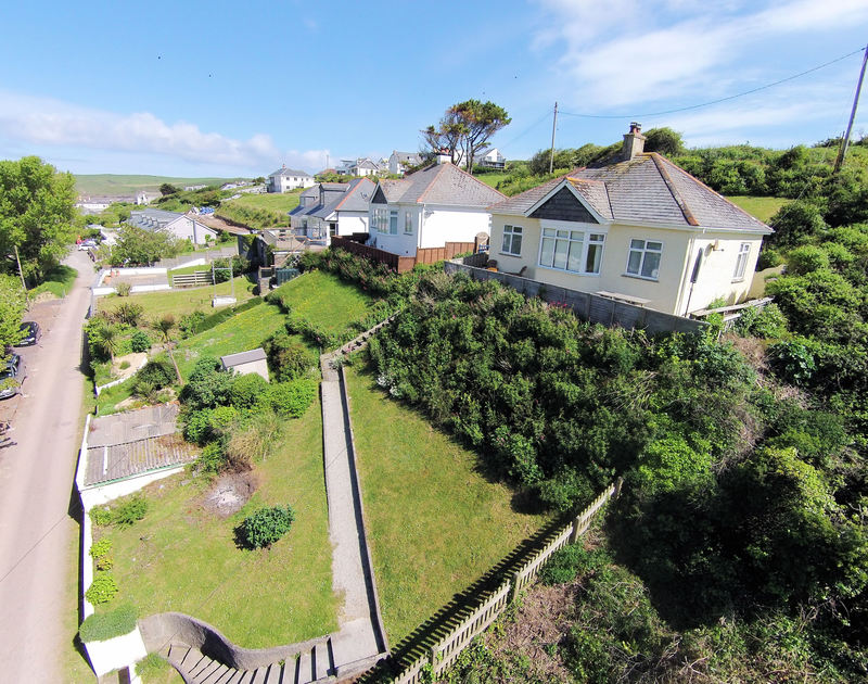 An aerial view of Burwyn, a self catering holiday house to rent in Polzeath, North Cornwall.