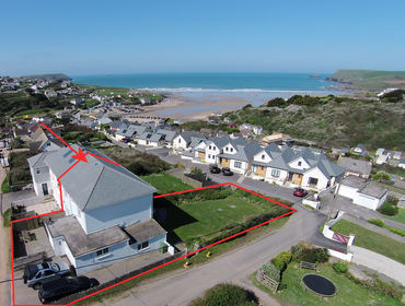 An aerial view of the location of Treverbyn, a self-catering holiday house in Polzeath, Cornwall